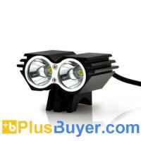 China Waterproof Dual LED Bicycle Headlight + Headlamp (1600 Lumens, Rechargeable) on sale