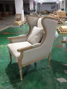 China French Antique Wooden and Fabric upholstered armchairs living room with lumbar pillow supplier