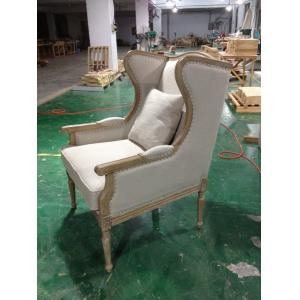 China French Antique Wooden and Fabric upholstered armchairs living room with lumbar pillow on sale