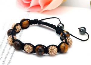 China 6*10mm Tiger Eye Ball & 5*10mm Shamballa Bead Bracelets for Men NP10058-362 on sale