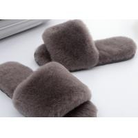 Light Grey Lambswool Fluffy Flip Flop Slippers , Women