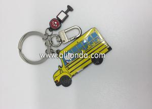 China Bulk wholesale creative custom promotional car shaped school bus shaped cheap blank metal keychain on sale