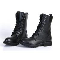 China Flat Low Heel Military Jungle Boots , Round Toe Leather Motorcycle Boots on sale