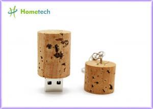 China Bottle Plug Shaped USB Wooden Memory Sticks  8GB / 16GB / 32GB With Key Chain on sale
