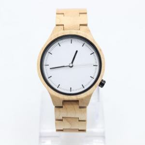 China Quartz Maple Wooden Wrist Watch , Female Wooden Watches Light Yellow on sale