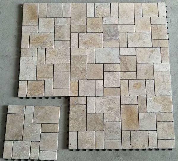 Beige Travertine Mosaicstone Mosaicfloor Mosaic Tilesmosaic Wall