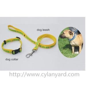 China satin ribbon polyester lanyard dog leash and dog collar gift set,silk screen printed logo, on sale