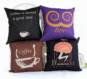 China Creative custom print cushion,coffee theme cotton linen cushion,alphabet letters cushion on sale