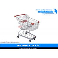 China Supermarket Shopping Trolley On PU Wheels , Strong Store Shopping Cart Four Wheel on sale