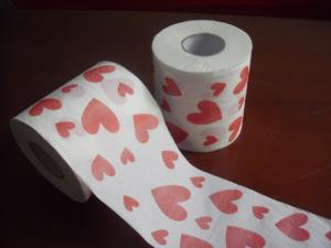 China heart printed toilet paper 250 sheets 100% virgin pulp jumbo roll toilet paper on sale