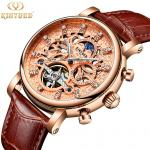 Luxury brand automatic mechanical movement genuine leather men charm wrist waterproof watch