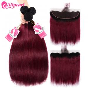 China 1B 99j Burgundy Ombre Human Hair Weave With Lace Frontal Silky Straight on sale