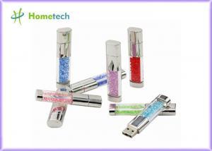China Fashion USB 2.0 Flash Pen Drive , Crystal Heart USB Flash Drive Diamond Memory Stick on sale
