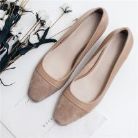 China Cow Suede Office Ladies Shoes , Cap Toe Womens Low Heel Pumps Apricot Color on sale