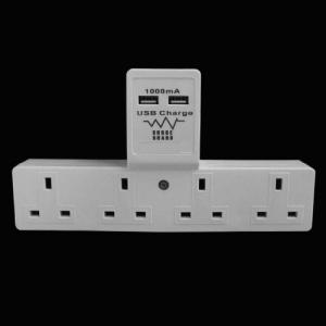 China UK / British style T shape WALL USB electrical Socket, 4 outlets on sale