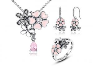 China Poetic Daisy Cherry Blossom Flower Jewellery Sets With Necklace / Earrings / Ring on sale