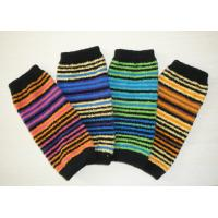 Soft Striped Knitted Arm Warmer Pattern , Long Fingerless Gloves For Girls