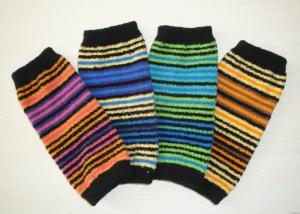 China Soft Striped Knitted Arm Warmer Pattern , Long Fingerless Gloves For Girls on sale