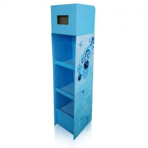 China Sturdy Cardboard Floor Display Stands With LCD Screen Inserted In Top Header on sale