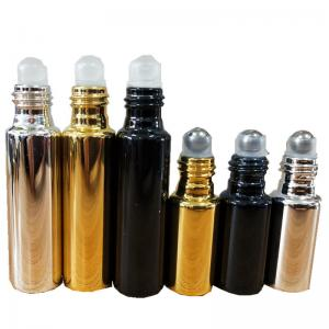 China Electroplate UV Glass 5ML 10ML Empty Perfume Roller Bottles on sale