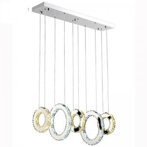 China Contemporary Adjustable Pendant Light , L60 * W18 * H100cm Crystal Hanging Lights  on sale