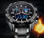 Wholesale Men Minitary Sport Watches 3D Dial Analogueand Digital   Dual Time Steel Strap Chronograph  Watch F904
