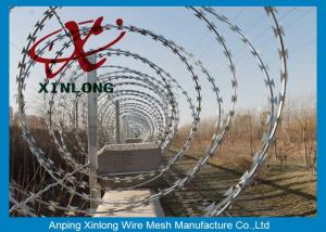 China Modern Security Barbed Wire Fence , Stainless Steel Razor Wire on sale