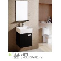 Customized Handle / feet narrow bathroom sink vanity 15mm door thickness PVC board