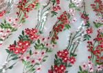 Multi Colored Embroidered Mesh Lace Fabric , 47 Inch Floral Wedding Gown Lace Fabric