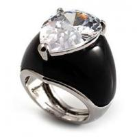 Women Cool crystal cocktail Anniversary ring Stainless Steel with fashionable design