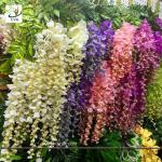 China UVG 110cm faux floral arrangements long shoot wisteria silk flowers for wedding decoration WIS016 wholesale