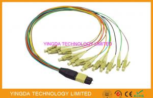 China High Density MTP MPO cable  - LC 12 Core Hydra Cable Assemblies Male Connectors With Guide Pins on sale