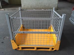 China Transport Portable Mesh Pallet Box Demountable Steel Heavy Capacity on sale