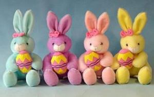 China 12inch Stuffed Easter Bunnies With Egg Push Toys, Soft Toys For Holiday Celebration on sale