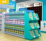Professional Pharmacy Display Shelves 30kg/Layer Yellow / Pink / Blue Color