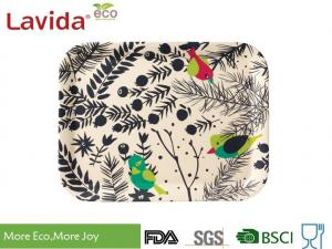 China Stackable Anti - Slip Bamboo Food Tray Nordic Colorful Flower And Bird Style Dishwasher Safe on sale