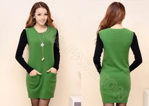 China S M Crew Neck Sleeveless Womens Pullover Sweaters With Pockets , Green Long Dress Sweater on sale