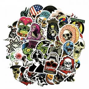 China Cartoon Skull Mixed PVC Graffiti Cool Stickers Waterproof Custom Size Fashion Style on sale