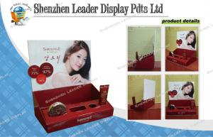 China Red Cosmetic Cardboard Counter Top Display with Custom Cut of Human Shape on sale