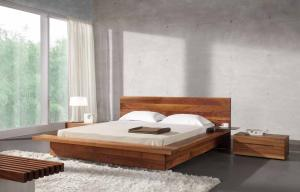 China Bed Room Queen Size Walnut Bed Set / Wood Beds With Solid Black Walnut 1.8 * 2.0 M on sale