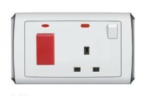 China 45A DP red wall Switch with 13A British type switched Electrical Wall Socket Neon Light on sale