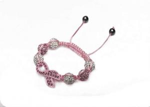 China Pink Shamballa Bead Bracelet with Clear Crystal Disco Ball Handmade Bracelets with Butterfly Tie NP10138-1 on sale