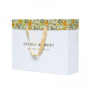 China Little Flower Custom Printed Paper Bags With Handle Custom Logo on sale
