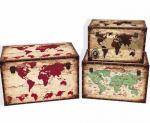 Fashion Design Printed Paris World Map Delicate Girls Jewel Storage Box antique Stylish Home Decoration box
