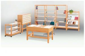 China Reading desk and bookcase racks in Library wood Furniture on sale