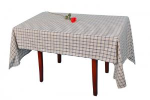 China Blue Linen Checkered Table Cloth Durable Machine Washing Or Hand Washing on sale