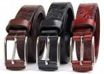 Women's Genuine Leather Belt Embossing Vintage Plant Pattern Wide 2.8cm
