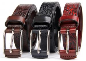 China Ladies Genuine Leather Belt Floral Embossed Classic Retro Pattern Wide 2.8cm on sale