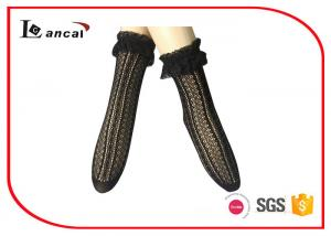 China Sexy Black Ladies Silk Socks Jacquard With Lace Top Edge , Womens Nylon Socks on sale