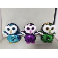 Manufacturer Reversible 15cm Custom Sequin Animal Owl Plush Stuffed Toy